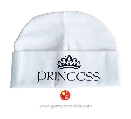 gorro blanco unicolor para bebe princess