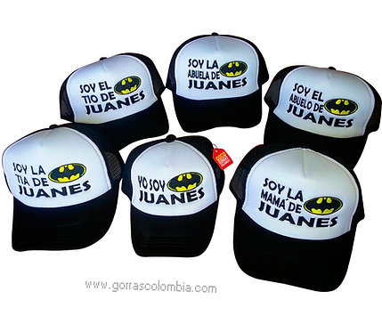 gorras negras frente blanco para familia batman
