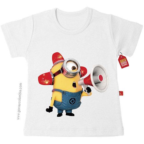 camiseta blanca para niño de minion con cirena