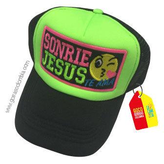 gorra negra frente verde personalizada sonrie jesus te ama