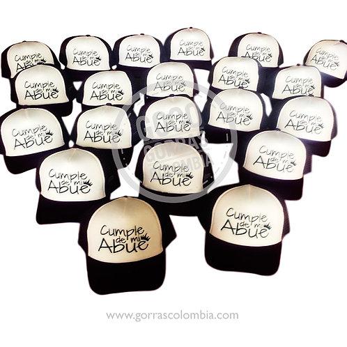 gorras negras frente blanco para fiesta cumpleaños