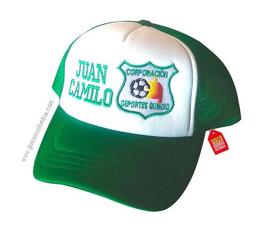 gorra verde frente blanco personalizada deportes quindio
