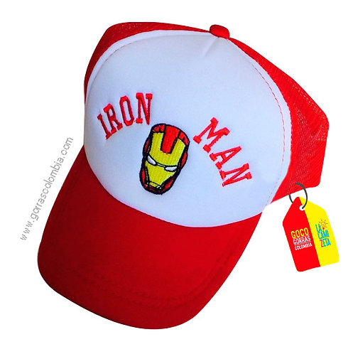 gorra roja frente blanco de superheroes iron man