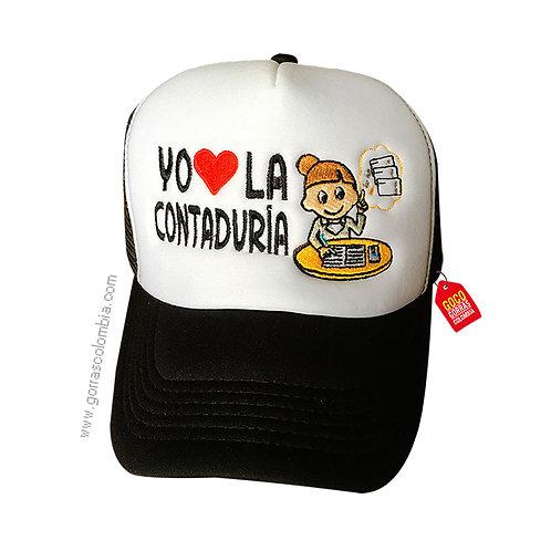 gorra negra frente blanco personalizada contadora