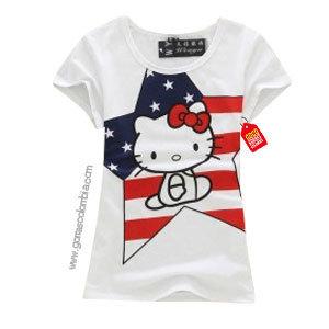 camiseta blanca para niña de hello kitty eeuu