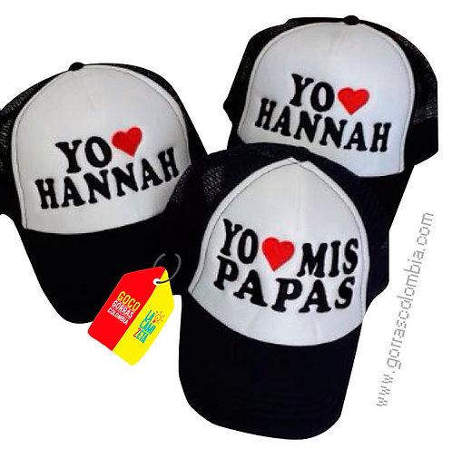 gorras negras frente blanco para familia papas e hija