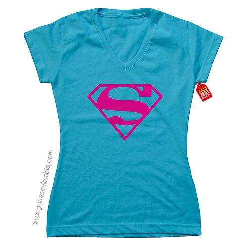 camiseta azul de superheroes superman mujer