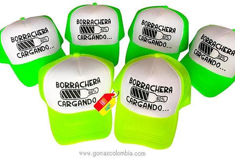 gorras verde neon frente blanco para fiesta borrachera cargando