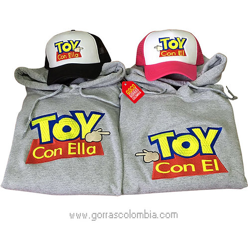 busos y gorras para pareja toy con el y toy con ella