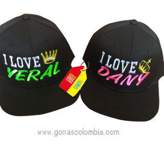 gorras negras unicolor para pareja i love