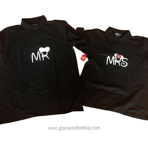 camisetas negras para pareja de mr y mrs