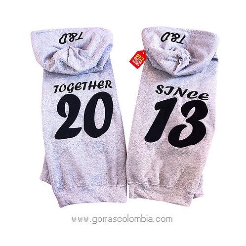 busos grises con capota para pareja since together