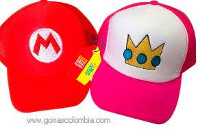 gorras roja y fucsia unicolor para pareja super mario