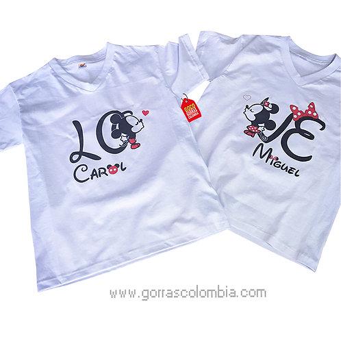 camisetas blancas para pareja love de mickey beso