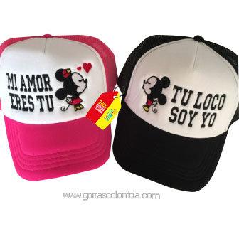 gorras negra y fucsia frente blanco para pareja mi amor eres tu mickey