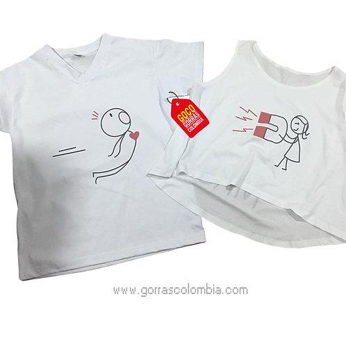 camisetas blancas para pareja con iman
