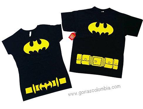 camisetas negras para pareja de batman con cinturon