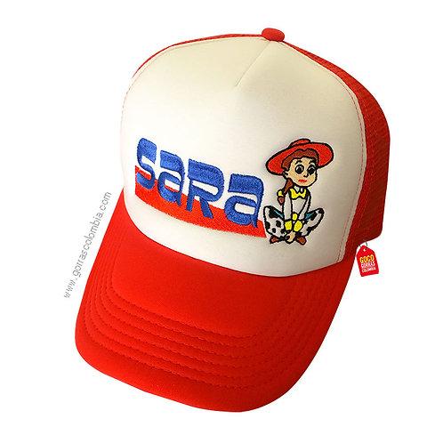 gorra roja frente blanco para niña jessie