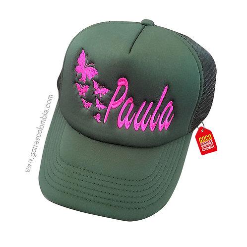 gorra verde militar unicolor personalizada mariposas