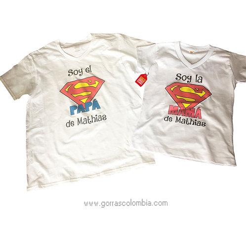 camisetas blancas para familia super papa y super mama