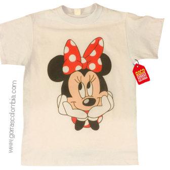 camiseta blanca para niña de minnie roja
