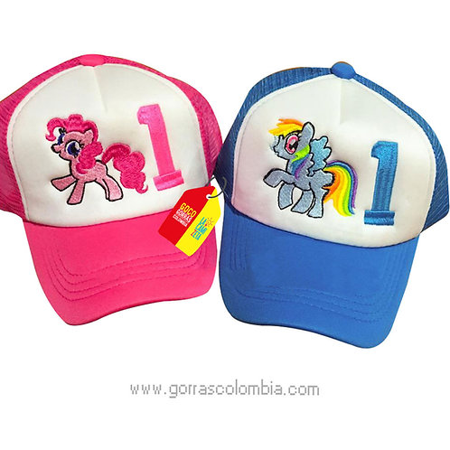gorras azul y fucsia frente blanco para fiesta cumpleaños little pony