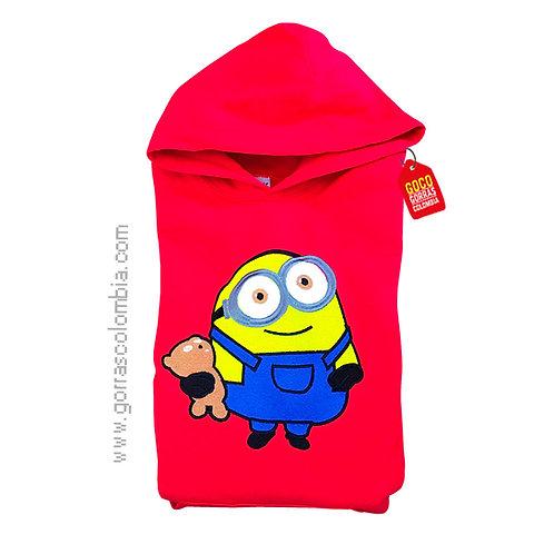 buso rojo con capota para niño de minion