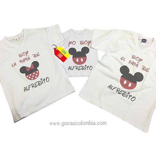camisetas blancas para familia de mickey con nombre
