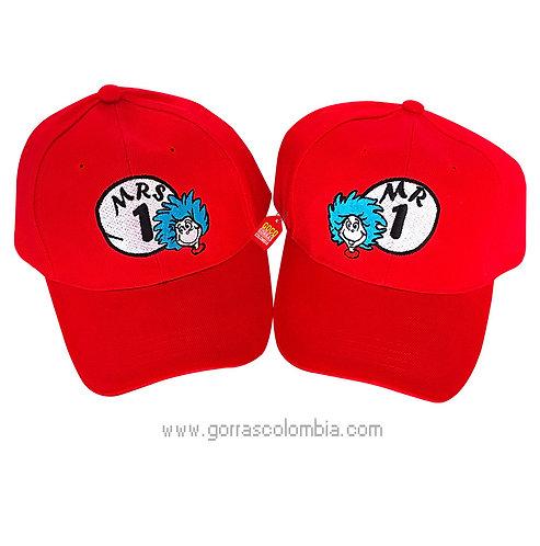 gorras rojas unicolor para pareja mr y mrs