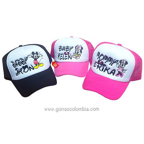 gorras fucsia y negra frente blanco para familia daddy, mommy y baby
