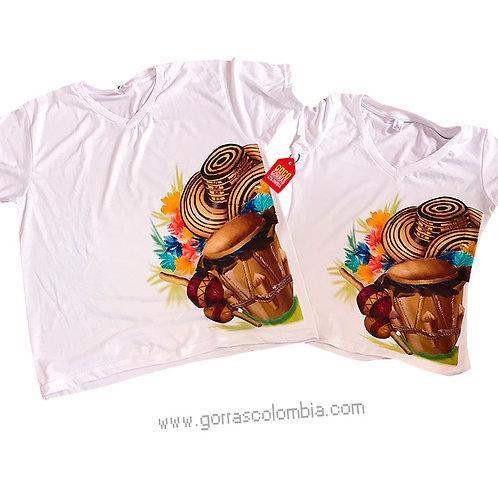 camisetas blancas para pareja festival vallenato