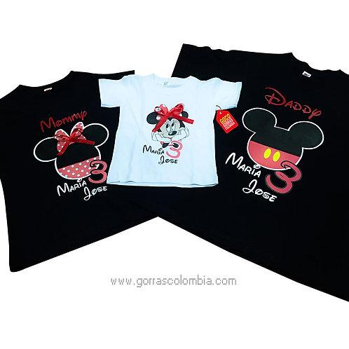 camisetas negras y blanca para familia de mickey cumpleaños