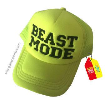 gorra verde neon unicolor personalizada beast mode