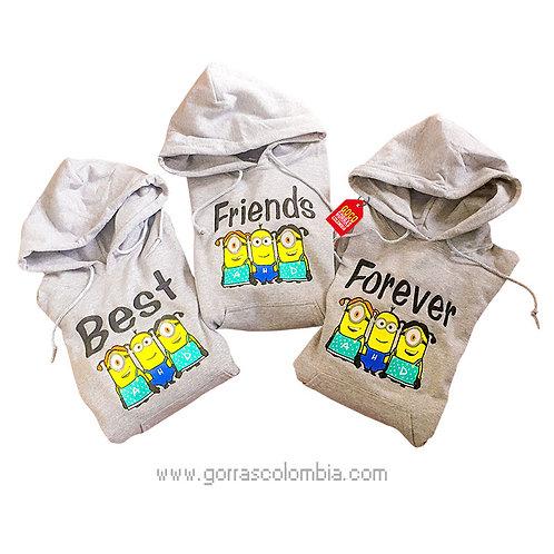 busos grises con capota para amigas best friends forever minions
