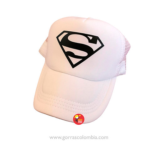 gorra blanca unicolor para superheroes superman blanco y negro