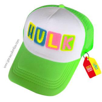 gorra verde neon frente blanco para niña hulk