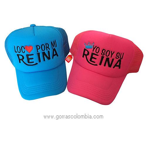 gorras azul y fucsia unicolor para pareja loco por mi reina