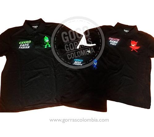 camisetas negras para familia heroes en pijama