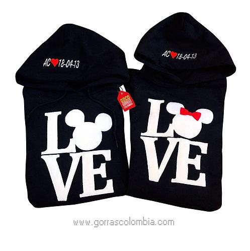 busos negros con capota para pareja love mickey
