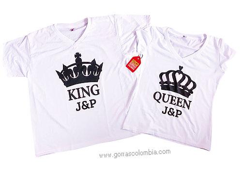 camisetas blancas para pareja king y queen con iniciales