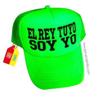gorra verde neon unicolor personalizada el rey tuyo soy yo