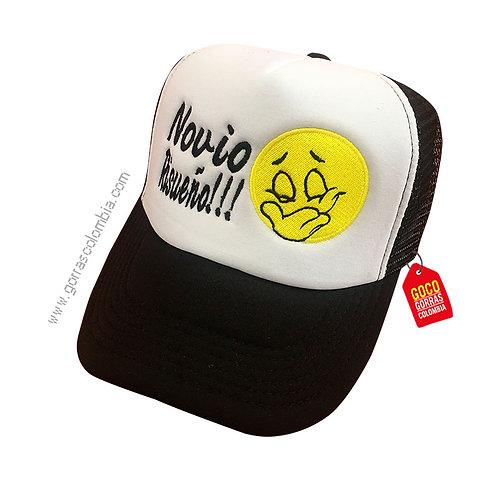 gorra negra frente blanco personalizada emoji timido