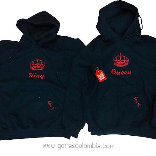 busos negros con capota para pareja king y queen rojo