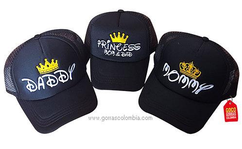 gorras negras unicolor para familia daddy, mommy y princess
