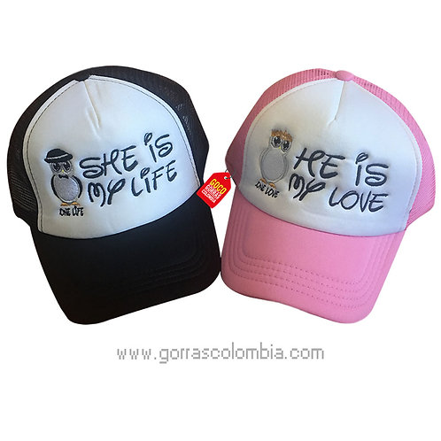 gorras negra y rosada frente blanco para pareja my love y my life