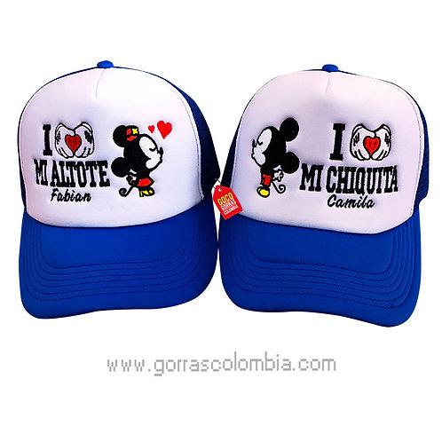gorras azules frente blanco para pareja altote y chiquita