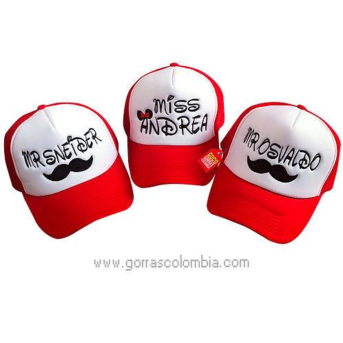 gorras rojas frente blanco para familia mostacho mr y miss