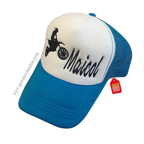 gorra azul frente blanco personalizada motociclista