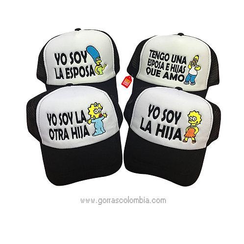 gorras negras frente blanco para familia los simpson