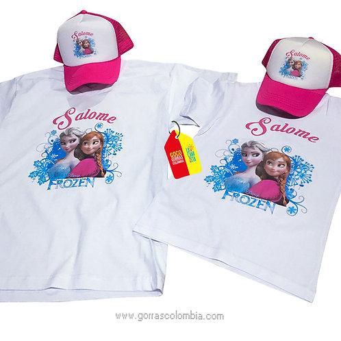 camisetas y gorras para familia de frozen mama e hija